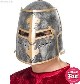 Smiffys Medieval Crusader Silver Helmet with Moveable Face Shield