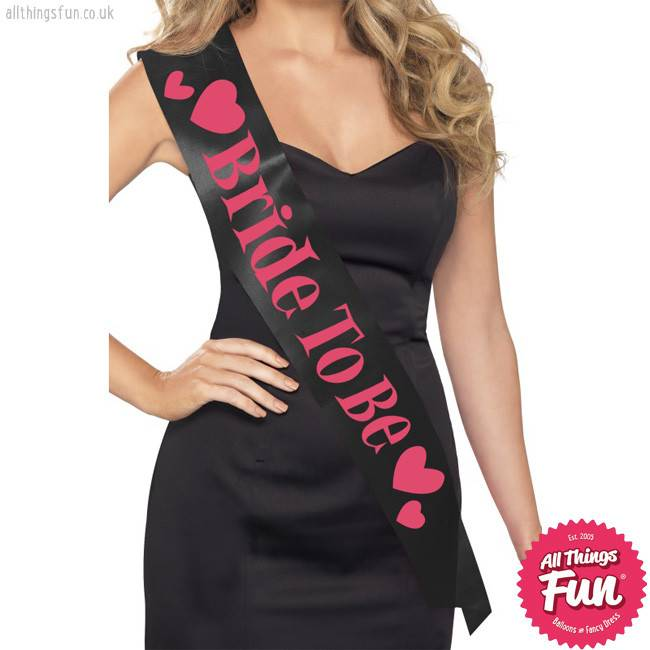 Smiffys Black Bride To Be Sash with Pink Lettering