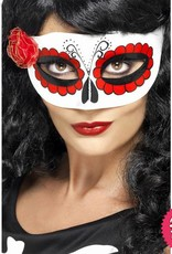 Smiffys Mexican Day Of The Dead White & Red Eyemask with Rose