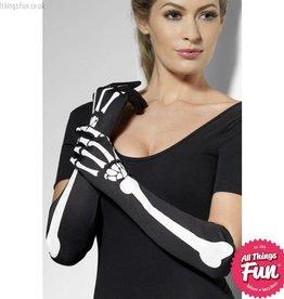 Smiffys *SP* Black Long Skeleton Gloves