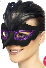Smiffys Gothic Raven Masquerade Black Eyemask with Feathers