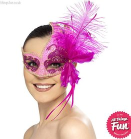Smiffys *DISC* Masquerade Carnival Pink Angel Eyemask with Feathers