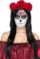 Smiffys Day of the Dead Headband with Red Roses
