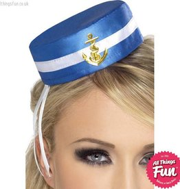Smiffys Blue Pill Box Sailor Hat with Hair Clip