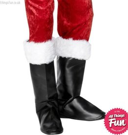 Smiffys Black Santa Boot Covers with Fur