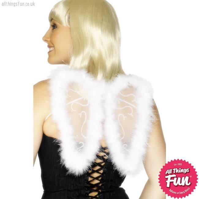 Smiffys Mini White Glitter Wings with Marabou