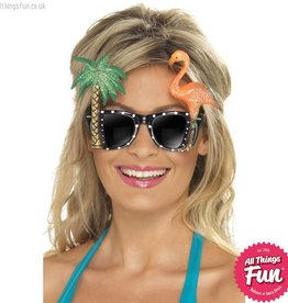 Smiffys Hawaiian Black Glasses with Flamingo & Palm Tree