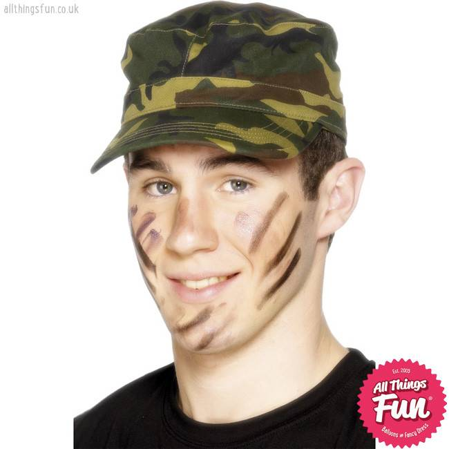 Smiffys Green Camouflage Army Cap