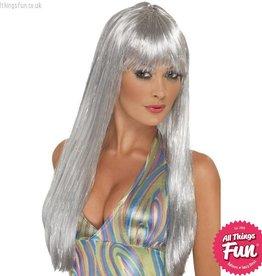Smiffys Silver Glitter Disco Wig