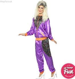 Smiffys Ladies Purple Retro Shell Suit