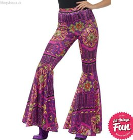 Smiffys Ladies Woodstock Psychedelic Flared Trousers