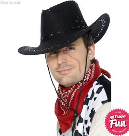 Smiffys Suede Look Black Cowboy Hat