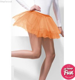 Smiffys Neon Orange Tutu Underskirt with 4 Layers 30cm Long