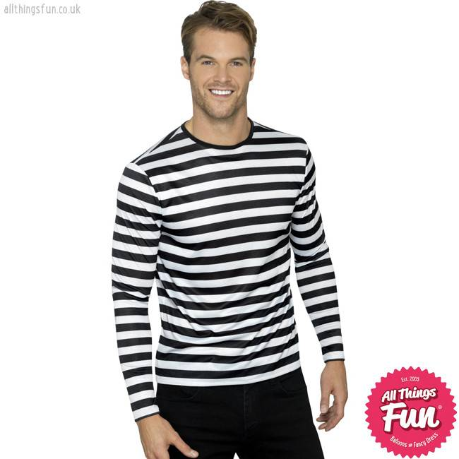 Smiffys *DISC* Black Stripy T-Shirt with Long Sleeves