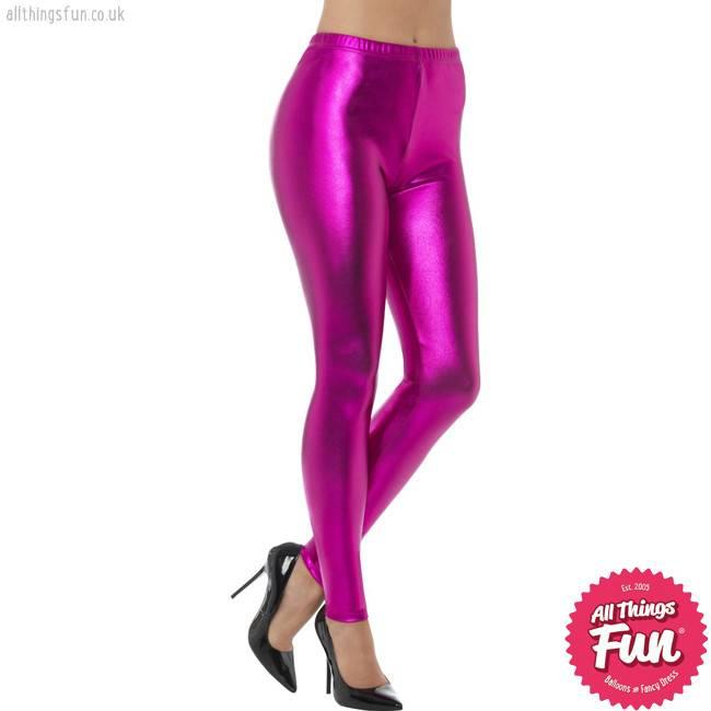 Smiffys 80's Pink Metallic Disco Leggings