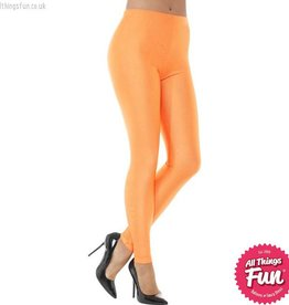 Smiffys 80's Neon Orange Disco Spandex Leggings