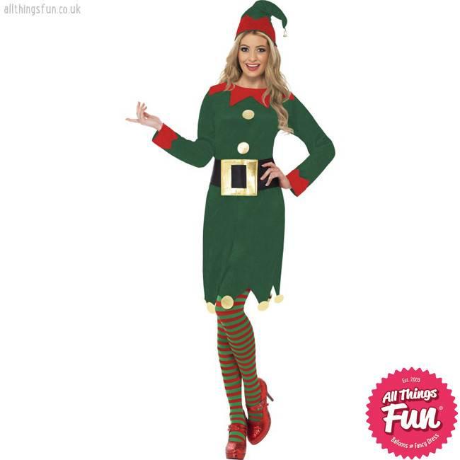 Secret Elf Red Green Hat With Bells Novelty Christmas Xmas Fancy Dress Costume