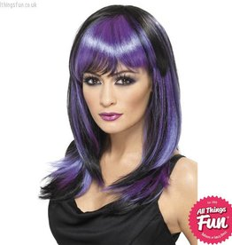 Smiffys Black & Purple Glamour Witch Wig Long with Fringe