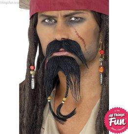 Smiffys Pirate Black Moustache & Beard