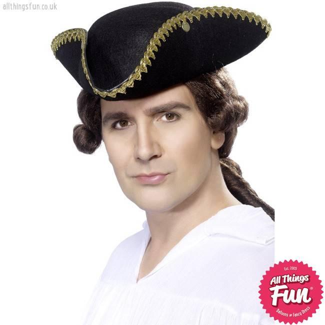 Smiffys Dick Turpin Black Tricorn Hat