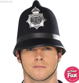 Smiffys Black Police Hat with Badge