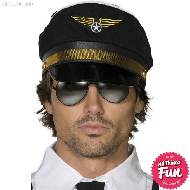 Smiffys Black Pilots Cap