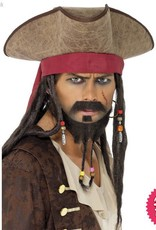 Smiffys Brown Pirate Hat with Dreadlocks