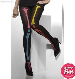 Smiffys *SP* Black Opaque Tights with Neon Skeleton Print