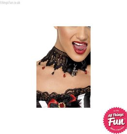 Smiffys Gothic Black Ribbon and Lace Beaded Necklace