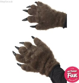 Smiffys Brown Hairy Monster Hands Brown