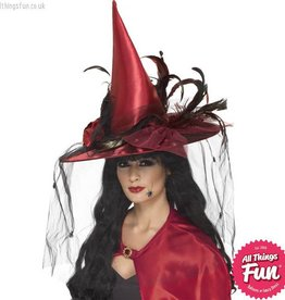 Smiffys *SP* Deluxe Deep Red Witch Hat with Nets & Feathers