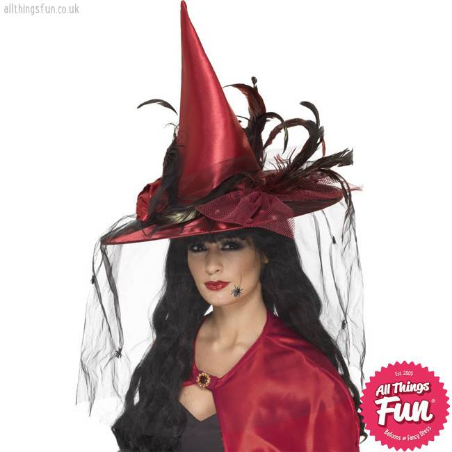 Smiffys Deluxe Deep Red Witch Hat with Nets & Feathers
