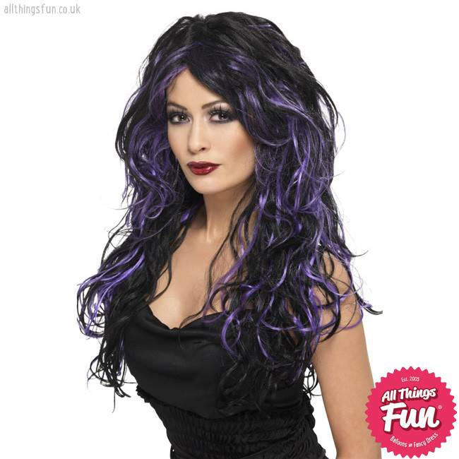 Smiffys Gothic Purple Bride Wig