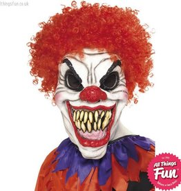 Smiffys *SP* White Scary Clown Foam Latex Mask with Red Wig