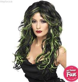 Smiffys Gothic Black & Green Bride Wig