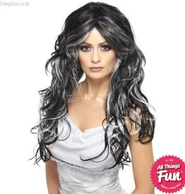 Smiffys Gothic Black & Silver Bride Wig
