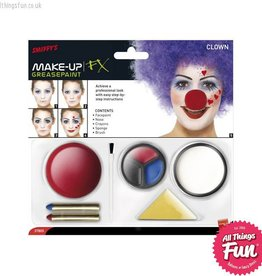 Smiffys Clown Make Up Kit with Paints, Nose, Crayons & Sponge