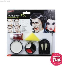 Smiffys Vampire Make Up Set with Paints, Fangs, Blood & Sponge