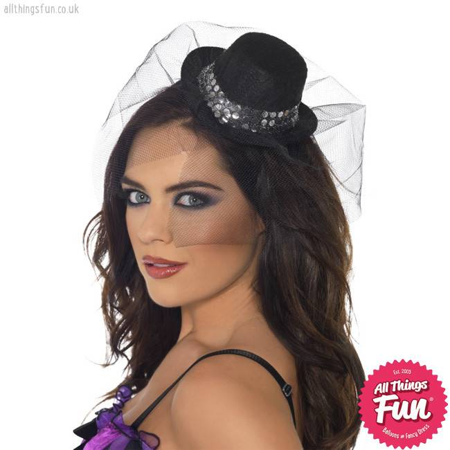 Smiffys Fever Mini Black Top Hat with Sequin Trim & Netting
