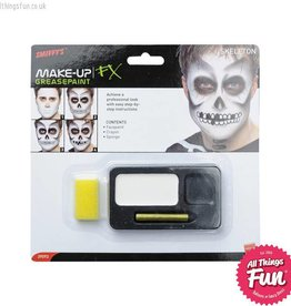 Smiffys Skeleton Make Up Kit with Paints, Black Crayon & Sponge