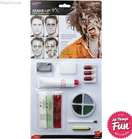 Smiffys Zombie Make Up Kit with Paints, Gel Blood, Liquid Latex & Horror Flesh