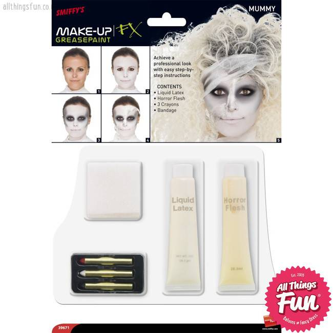 Smiffys *SP* Mummy Make Up Kit with Liquid Latex, Horror Flesh, Bandage & Crayon