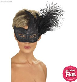 Smiffys Ornate Colombina Black Feather Mask