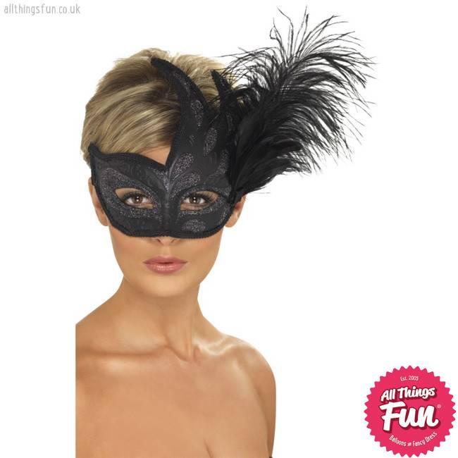 Smiffys Ornate Colombina Black Feather Mask