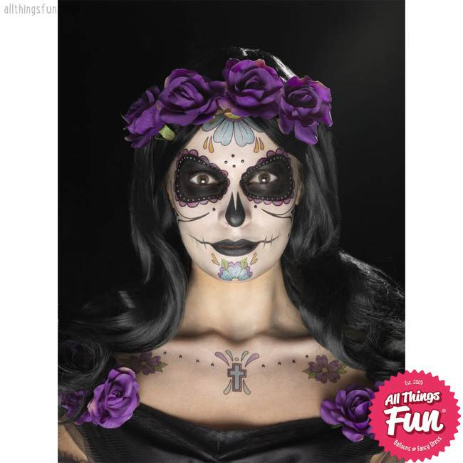 Smiffys Multi Coloured Day of the Dead Face Tattoo Transfers Kit with Gems