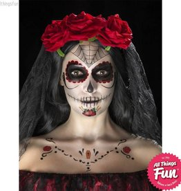 Smiffys *SP* Red & Black Day of the Dead Face Tattoo Transfers Kit