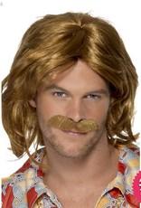 Smiffys 70's Super Trouper Brown Wig & Moustache
