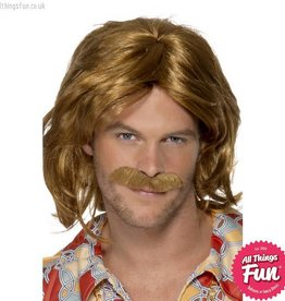 Smiffys 70's Super Trouper Brown Wig & Moustache