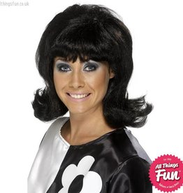 Smiffys 60's Black Flick-Up Wig