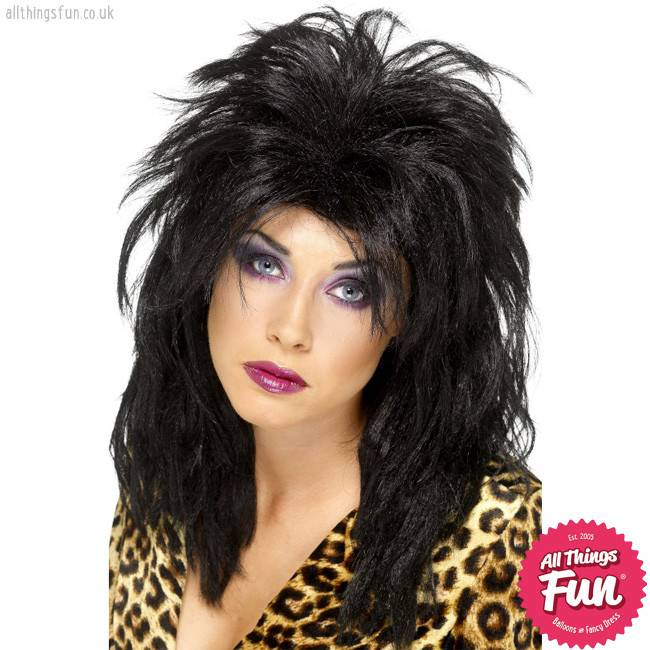 Smiffys 80's Black Popstar Wig